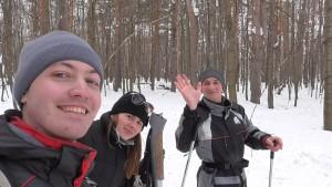 Лыжи втроем
