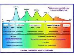 Резонансы ионосферы и ритмы активности головного мозга (Правдивцев, « Никола Тесла, Ионосфера и резонансы человеческого мозга»).