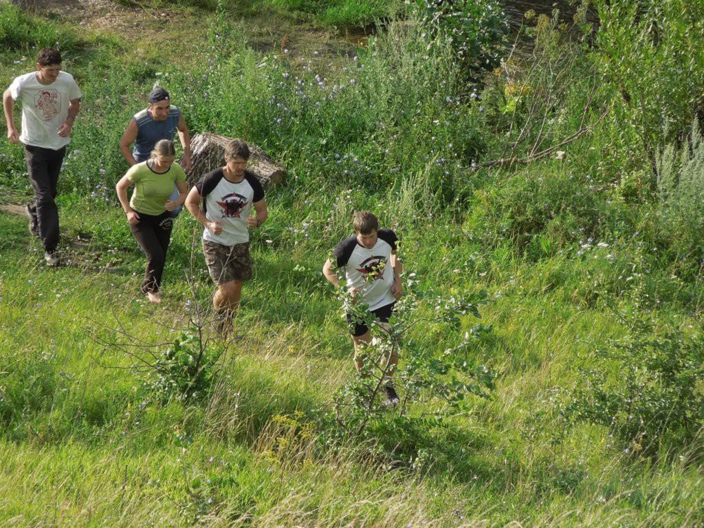 Начало пробежки. Бежим от Непрядвы на крутой склон