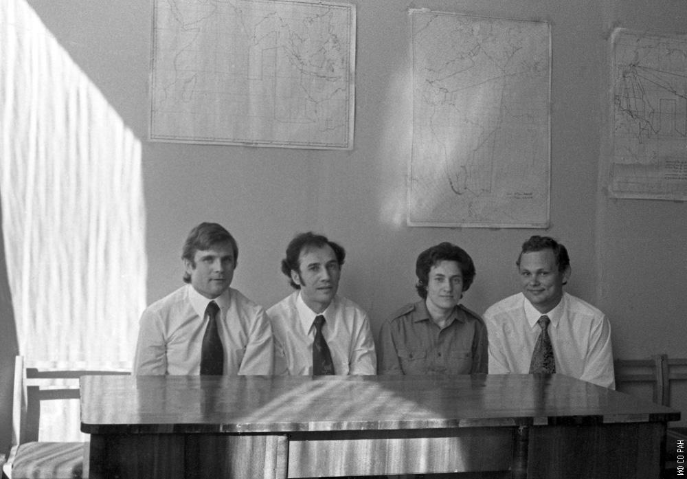 Фото на память перед началом шестимесячного эксперимента в «БИОС-3», слева направо: Бугреев Н.И., Терских В.В., Шиленко М.П., Петров Н.И. Фото, канун 1973 года.